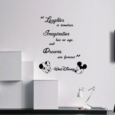 walt Disney Laughter is timeless Wall Quote Mickey Minnie vinyl decal Stickers kids room Disney Playroom, Disney Rooms, Disney Disney, Disney Princess, Nursery Wall Decals, Vinyl Wall Decals, Wall Stickers, Walt Disney Quotes, Wall Quotes
