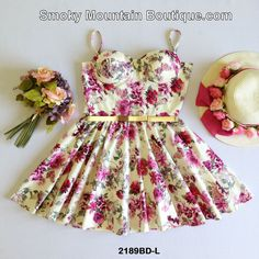 White Floral Multi Color Bustier Dress with Adjustable Straps Size S/M - BDL2189 - Smoky Mountain Boutique