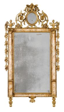 An Italian marble-mounted carved giltwood mirror, Sicilian or Spanish<br>late 18th century | lot | Sotheby's