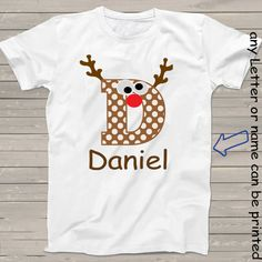 Rudolph red nosed Reindeer t-shirt alphabet letter D by StoykoTs