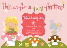 Fairy / Enchanted Garden Custom You Print Digital File Birthday Invitation by Polka Dot Bumblebee. $10.00, via Etsy.