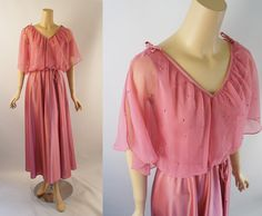Vintage 1970s Party Gown Medium Pink with Pearl Chiffon Overlay Sz 13/14 B36 by…
