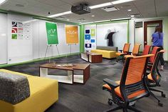 Coalesse Sebastopol tables and Await lounge create a collaborative space for team brainstorming.