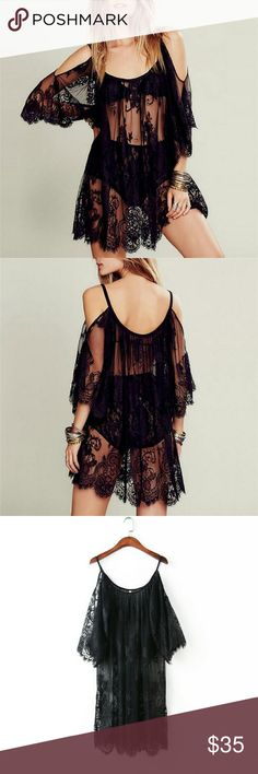 Gorgeous lace blouse/cover up Sexy and delicate black lace cold shoulder top. Can be worn as edgy blouse or as beach cover up, either way look fabulous and unique. Pls refer to chart for measurements. xizi fashion  Swim Coverups