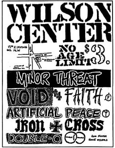 Minor Threat, Void, Faith, Iron Cross, etc. punk hardcore flyer