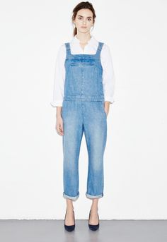 Grace Dungarees - Simplified stonewash overalls - Tailored Stone - MiH