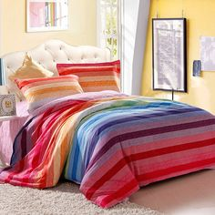 Girls Red Blue Pink and Yellow Colorful Pinstripe Rainbow Stripe Print Modern Chic Warm Color 100% Cotton Damask Twin, Full Size Bedding Sets - EnjoyBedding.com