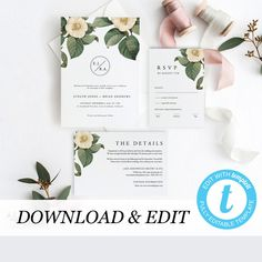 Greenery Wedding Invitation Template Printable Wedding Invitation DIY Templett PDF Instant Download Editable Rustic Wedding by PearlyPaperDesign on Etsy https://www.etsy.com/se-en/listing/595528976/greenery-wedding-invitation-template