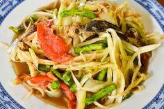 Som tam, or green papaya salad, a favourite Thai street food dish
