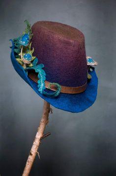 Felt Hat, Felt Witch Hat, Witch Hats, Felt Fairy, Crazy Hats, Stuff And Thangs, Wet Felting, Needle Felting, Schneider