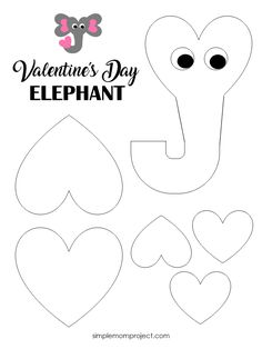 See this post for a FREE printable template to make your own Valentine's Day Elephant! This simple DIY Elephant Valentine's Day card is an easy craft for toddlers, big kids and adults to make Great for classroom Valentine's Day art projects - Paper Crafts Easy Toddler Crafts, Arts And Crafts For Teens, Art And Craft Videos, Valentine's Day Crafts For Kids, Arts And Crafts Projects, Valentine Crafts For Kids, Valentines Day Activities, Holiday Crafts, Party Crafts