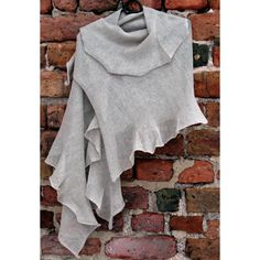 Gray Linen Scarf Shawl Wrap Stole Light
