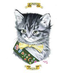 Kitten Scout   Limited Edition art print por berkleyillustration, $50.00