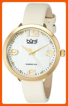 Burgi Women's BUR119YG Quartz Movement Watch with White/White Mother of Pearl Dial and White/Cream Leather Bracelet - All about women (*Amazon Partner-Link)