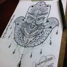 Desenho hansá de coruja, desenho exclusivo realizado por Aranin Chaves, trabalho feito para virar tattoo em Bushido Tattoo BR, Tattoo do Dia Desenho de Estudo de hoje da nossa Artista #AraninChavesTatuadora @Aranín Chaves em #BushidoTattooBR @bushidotattoobr
