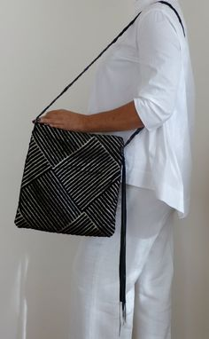 Boho Fringed Leather Crossbody Bag/ black leather by vquadroitaly