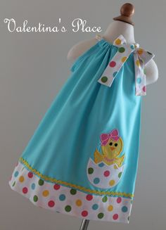 Adorable Easter Chick in Egg pillowcase dress
