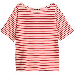 H&M Striped top (135 MXN) ❤ liked on Polyvore featuring tops, t-shirts, shirts, h&m, striped t shirt, striped short sleeve shirt, striped tee, pink shirt and tee-shirt