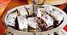 Εξαιρετική συνταγή για Λευκά σοκολατάκια με κράνμπερις (cranberries). Σοκολατάκια με λευκή σοκολάτα κουβερτούρα, θρεπτικά, γεμάτα ενέργεια, αλλά ...και θερμίδες! Λίγα μυστικά ακόμα Τα κράνμπερις ειναι τα δικά μας μύρτιλλα. Αντιοξειδωτικά, αντιγηραντικά, αντικαρκινικά και με πολλές άλλες ευεργετικές ιδιότητες. Οπότε, σε συνδυασμό και με τα αμύγδαλα, αξίζει πιστεύω ...η γλυκιά αυτή αμαρτία! Εναλλακτικά, μπορείτε να τυλίξετε το μείγμα σε μεμβράνη, να το αφήσετε στο ψυγείο να κρυώσει και να το…