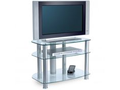 Sona TV Stand in Glass For 32 - Stunning finish offers a sleek and stylish look, complementing the designs of the latest AV equipment. Rigid construction with tension rod design. Clean, curved edges polished and shaped for additional personal safety. Cable management facility to manage unsightly cables.