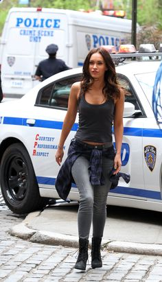 Megan Fox wearing the Glancy 6-Inch Boot in Black Nubuck.
