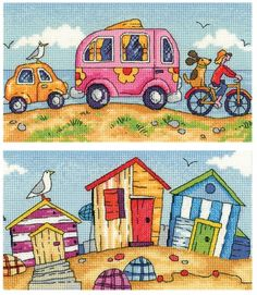 Are We There Yet? and Beach Huts - Heritage Crafts Karen Carter Cross Stitch