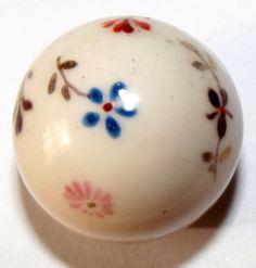 Wonderful vintage milk glass Ball button Painted floral design