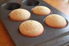 Recipe for only four vanilla cupcakes. This is so handy. Tried it and they were ok. Nothing special, a little dry, and not very sweet. But they will help tackle a craving.