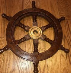 Nautical Wooden Ship Steering Wheel Pirate Decor Wood Brass Fishing Wall Boat 12 for sale online Nautical Room Decor, Pirate Decor, Wooden Ship, Mediterranean Style, Decorative Items, Pirates, Fishing, Brass, Check