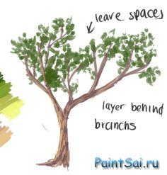 Рисование елей и деревьев