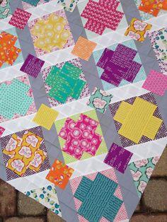 Utopia quilt, art gallery fabrics, modern patchwork cross quilt