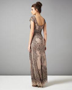Phase Eight Zita Embellished Full Length Dress Metallics