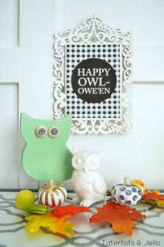 """Happy Owl-oween"" Free Printables!! -- Tatertots and Jello #mysterbox @krylonbrand"