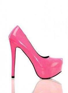 Neon Pink Closed Toe Platform Heels,  Shoes, platform heels  neon platform, Chic