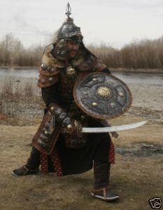 Guerreros mongoles (armadura y vestimenta tipo siglo XIII-XIV).