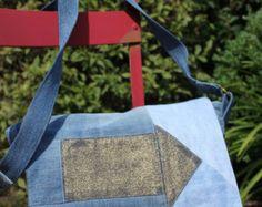 Jean cross body bag recycled denim messenger bag by Sisoibags