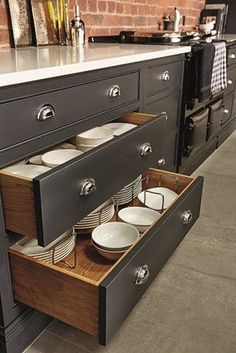Industrial Style Shaker Kitchen – Tom Howley I like using the drawers for plates/bowls.