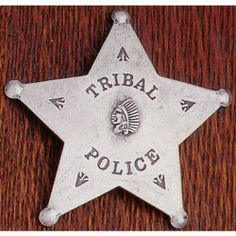 Solid Metal Indian Tribal Police Sheriff 5-Point Style Novelty Obsolete Badge Shield with Indian Head and Arrow Heads in Center . $10.49