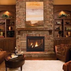 Scorpio by Astria Fireplaces - Warm up the room with a Scorpio™ series direct-vent gas fireplace with traditional Oak logs and a standard heat circulating blower. #fireplaces #southernliving