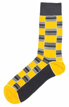 Yellow Grey Socks