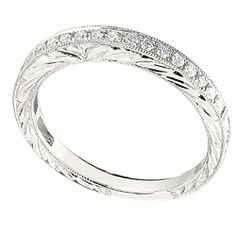 Hand-Engraved Diamond Wedding Ring. So simple. Love it.