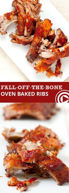 Fall-Off-The-Bone Oven Baked Ribs Easy Fall-Off-The-Bone Oven Baked Ribs with Video - Baking low and slow is the secret to these fall-off-the-bone oven baked ribs. Most of the recipe time is sitting back and relaxing waiting while the ribs bake. Pork Recipes, Cooking Recipes, Crockpot Recipes, Easy Rib Recipes, Smoker Recipes, Oven Recipes, Recipies, Salsa Barbacoa, The Bo