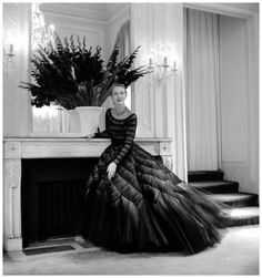 Exquisite gown of satin with tulle overlay by Jacques Griffe, photo by Willy Maywald, 1952