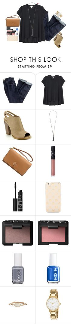 """ughhhhhhhhhhh"" by touch-of-sass ❤ liked on Polyvore featuring J.Crew, Monki, Tory Burch, NARS Cosmetics, Kate Spade, Essie, Kendra Scott and Saachi"