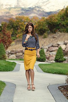 The Students Wife: mustard and navy