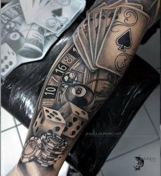 Tattoo Arm Tattoo Tattoo İdea Gambling Tattoo Arm Tattoo Custom Design Tattoo Ideas Gambling Tattoo Arm Tattoo Custom Design Tattoo Ideas Very nice black and grey realistic tattoo style of Las Vegas Casino motive done by artist Renata Jardim Tattoo Forarm Tattoos, Forearm Sleeve Tattoos, Best Sleeve Tattoos, Hand Tattoos, Tattoo Arm, Card Tattoo Designs, Best Tattoo Designs, Tattoo Sleeve Designs, Tattoo Ideas