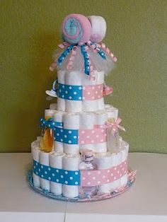 Boy/Girl Twins Diaper Cake - Lacey Kaye Creations