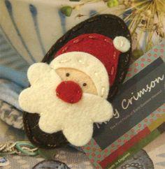 Wool felt hair clip Santa father christmas brown by MayCrimson, Felt Christmas Decorations, Felt Christmas Ornaments, Noel Christmas, Father Christmas, Primitive Christmas, Retro Christmas, Country Christmas, Christmas Projects, Felt Crafts