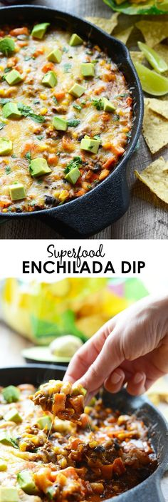 Football season is here and it's time to amp up your appetizers with some whole foods! Make this Superfood Enchilada Dip for a delicious and filling game day snack. #eatclean
