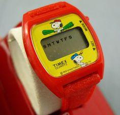 Snoopy Vintage Timex Watch Charlie Brown Peanuts Digital Baseball Red in Case #Timex